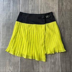 Bedo accordion neon yellow buckle wrap skirt